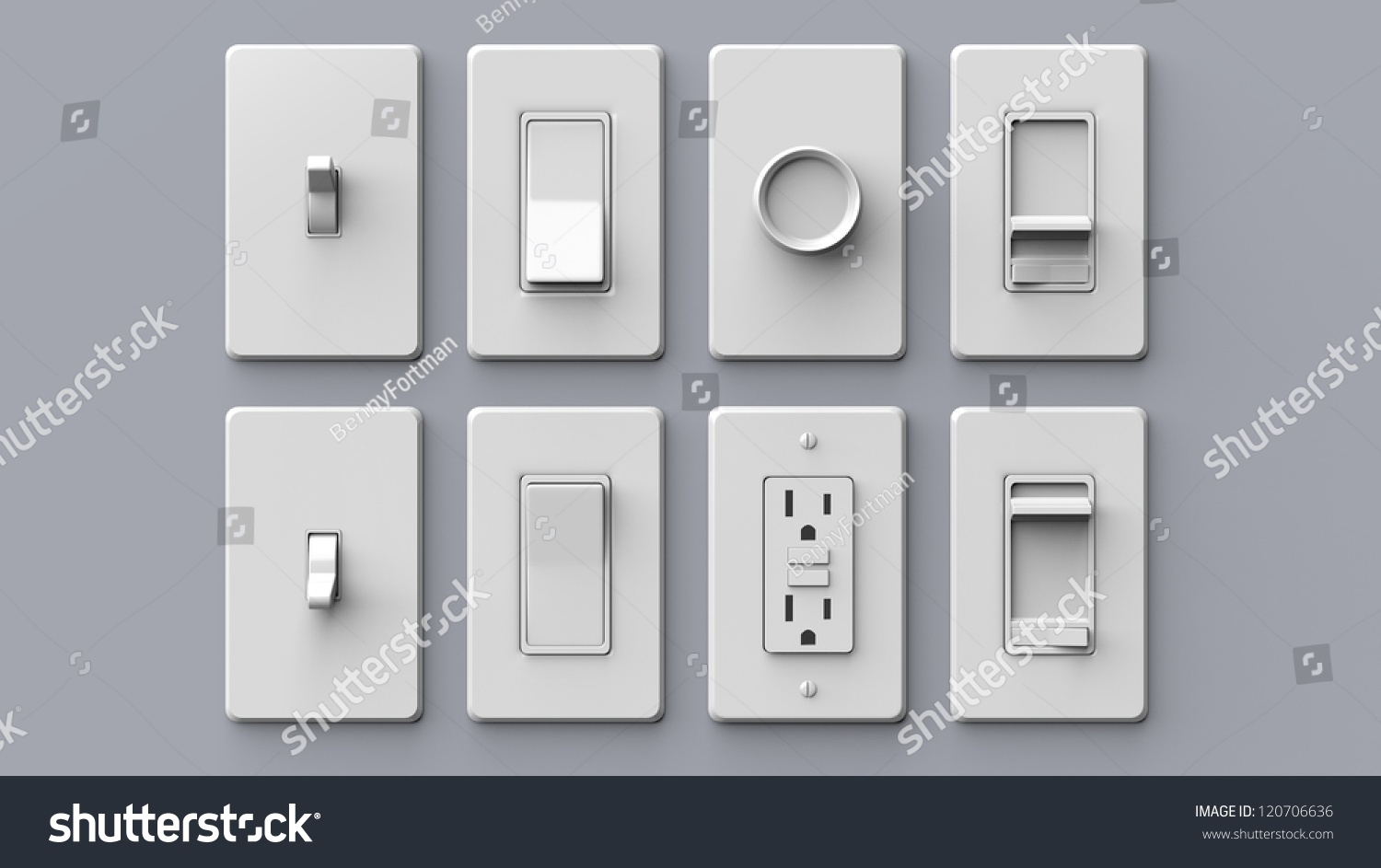 Common Household Electrical Switches Isolated Stock Illustration ...