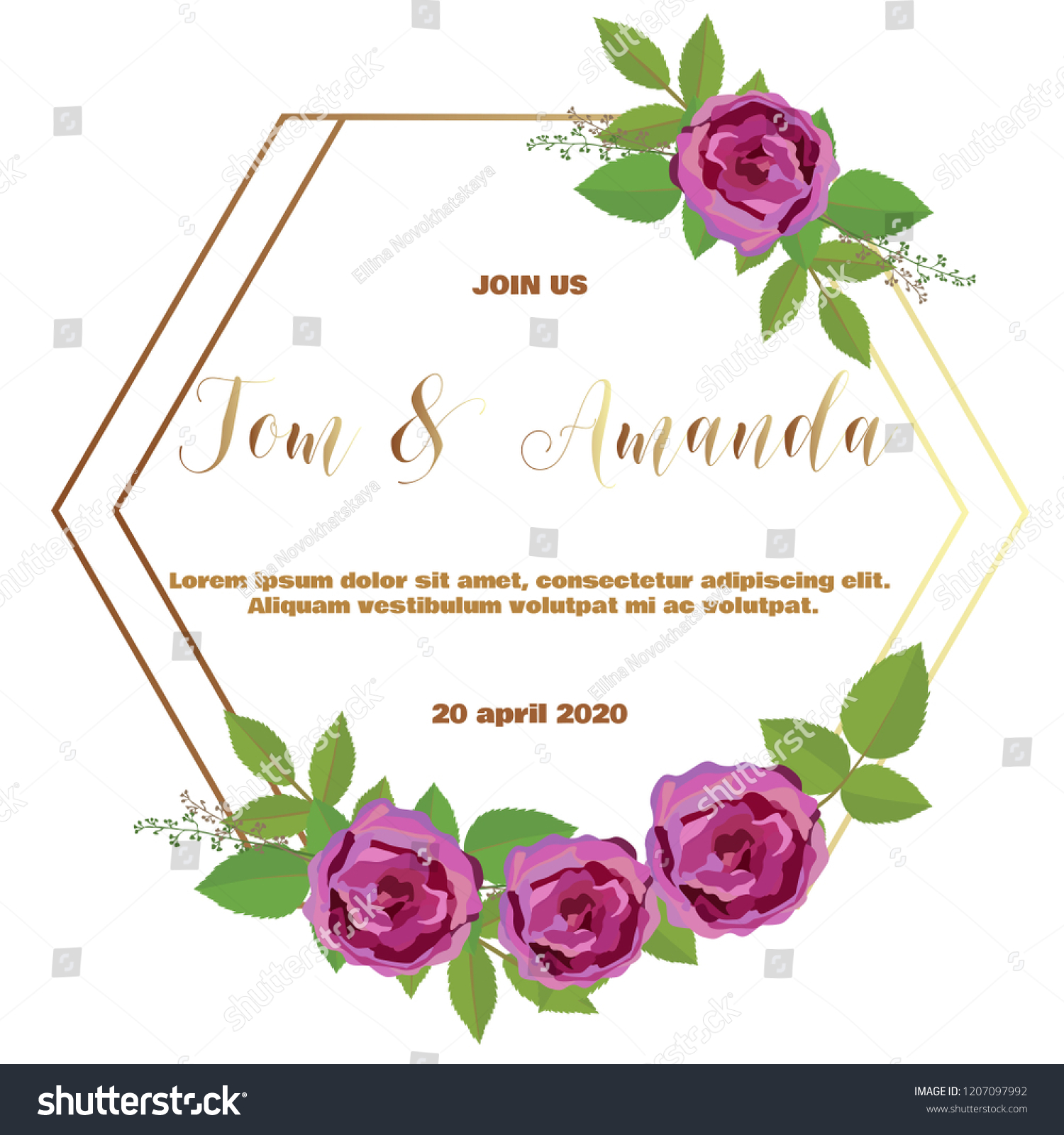 Floral Wedding Invitation Template Rose Leaf Stock Vector Royalty