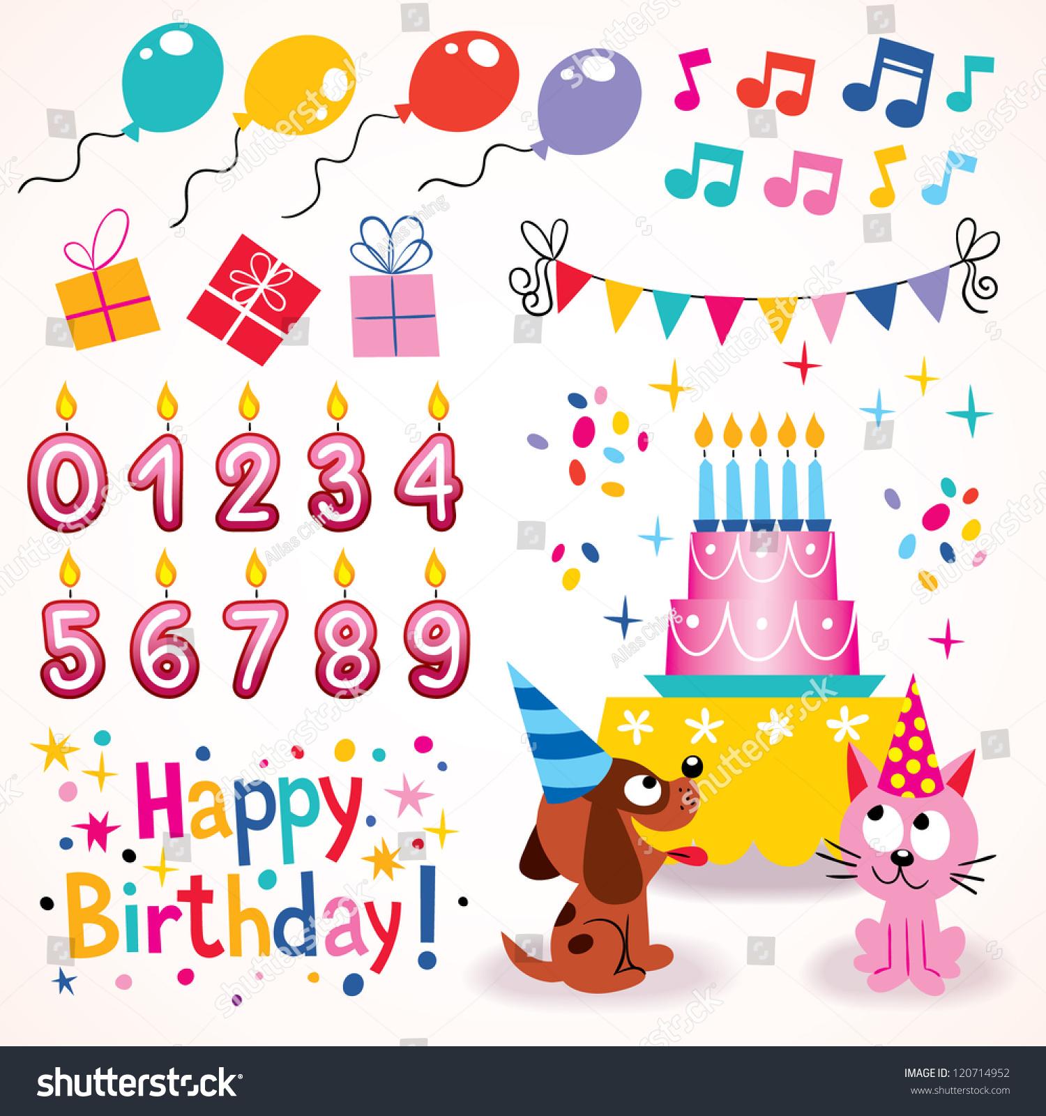 Happy Birthday Design Elements Set Stock Vector 120714952 ...
