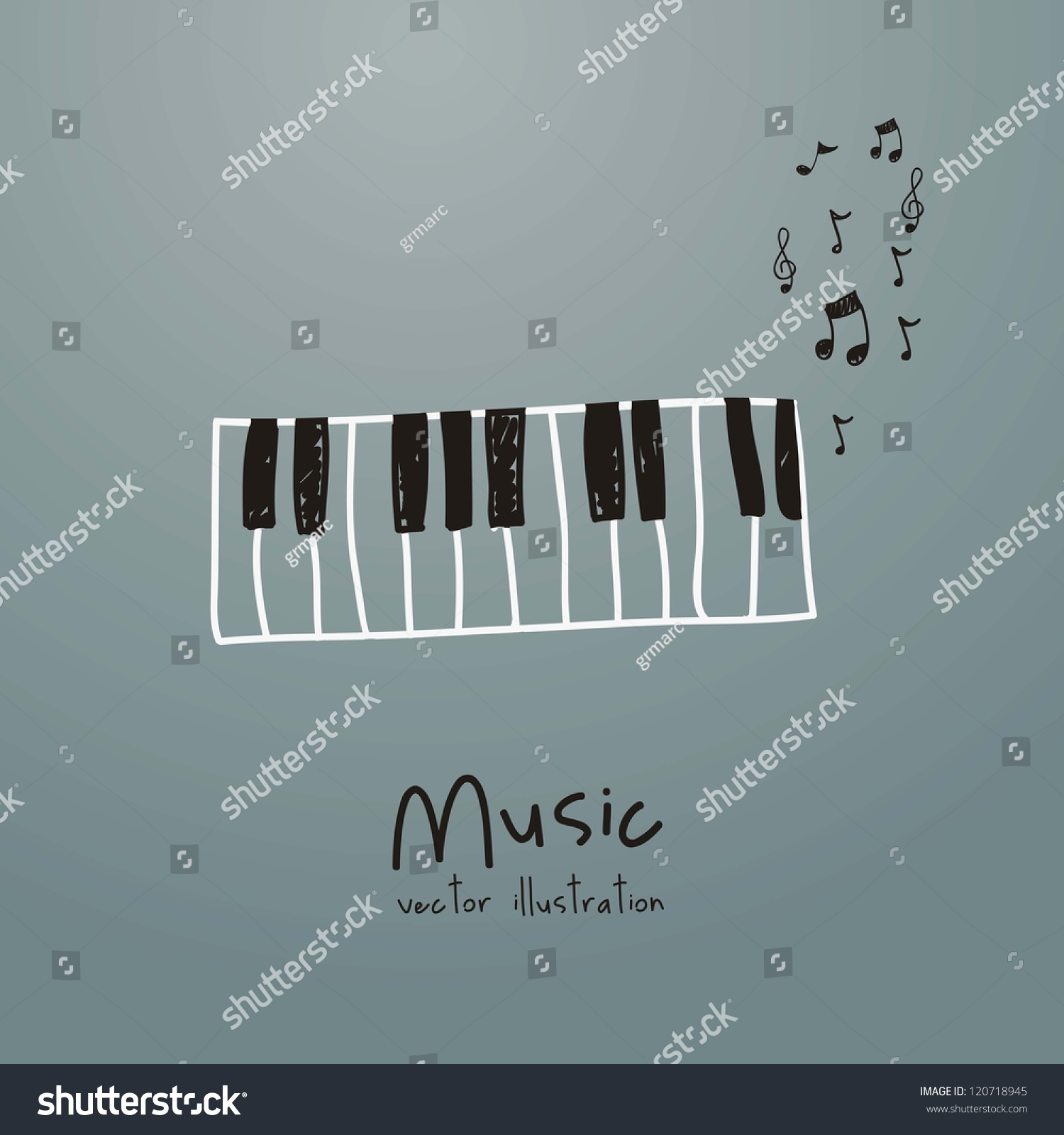 Music: Illustration Music Icon Piano Musical Notes Stock Vector