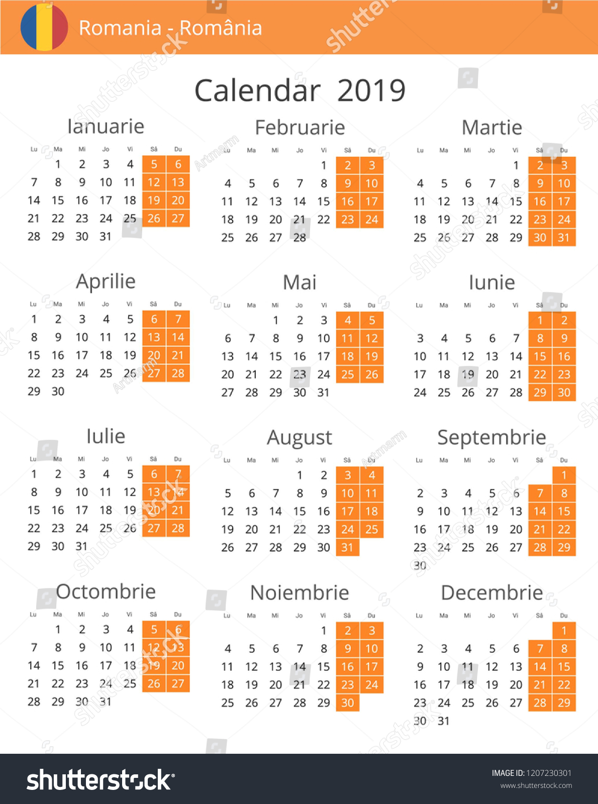 calendar aprilie 2019
