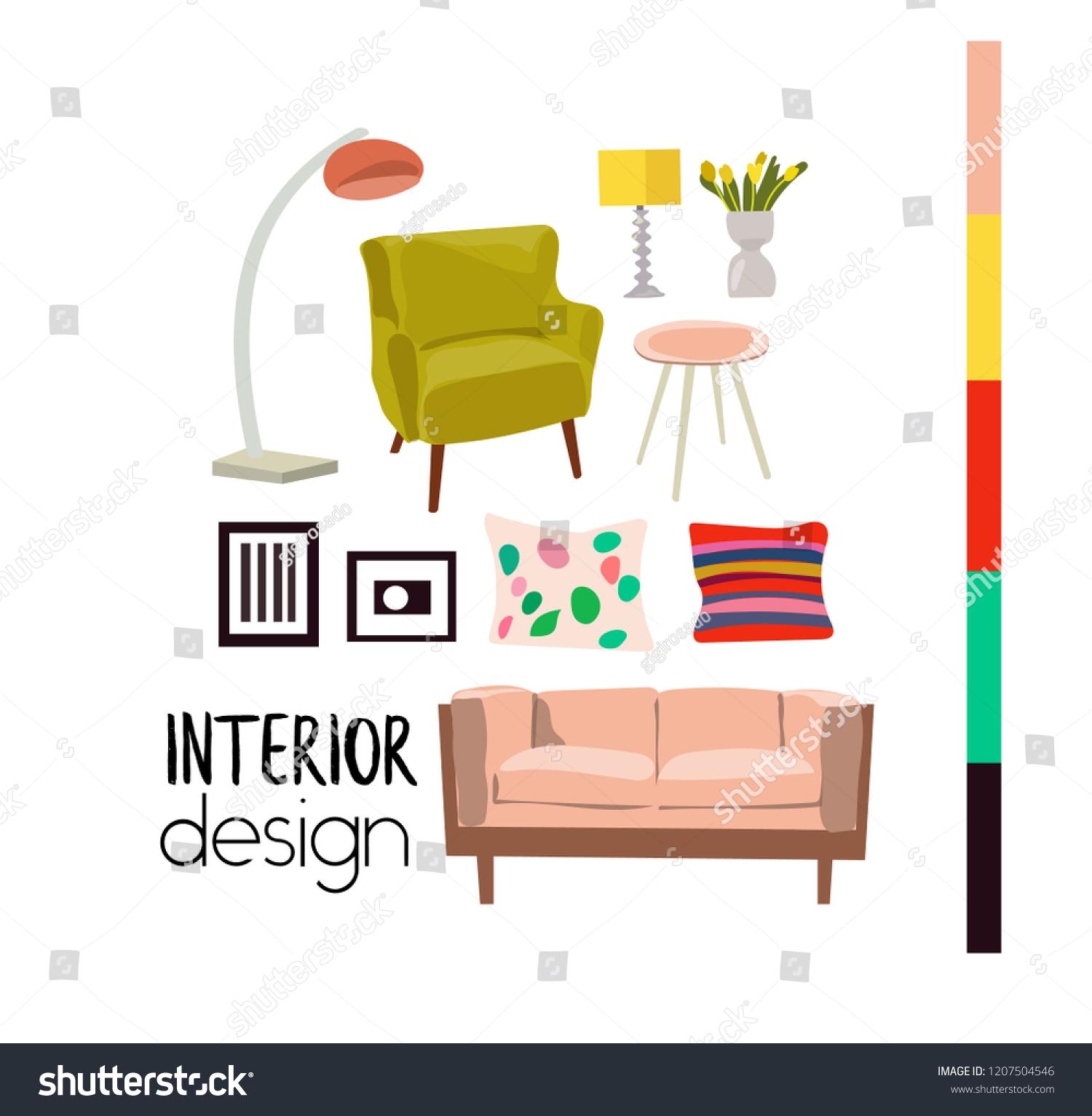 Vector interior design elements modern furniture living room sofa armchair mood board mid century modern style furniture mood board vector