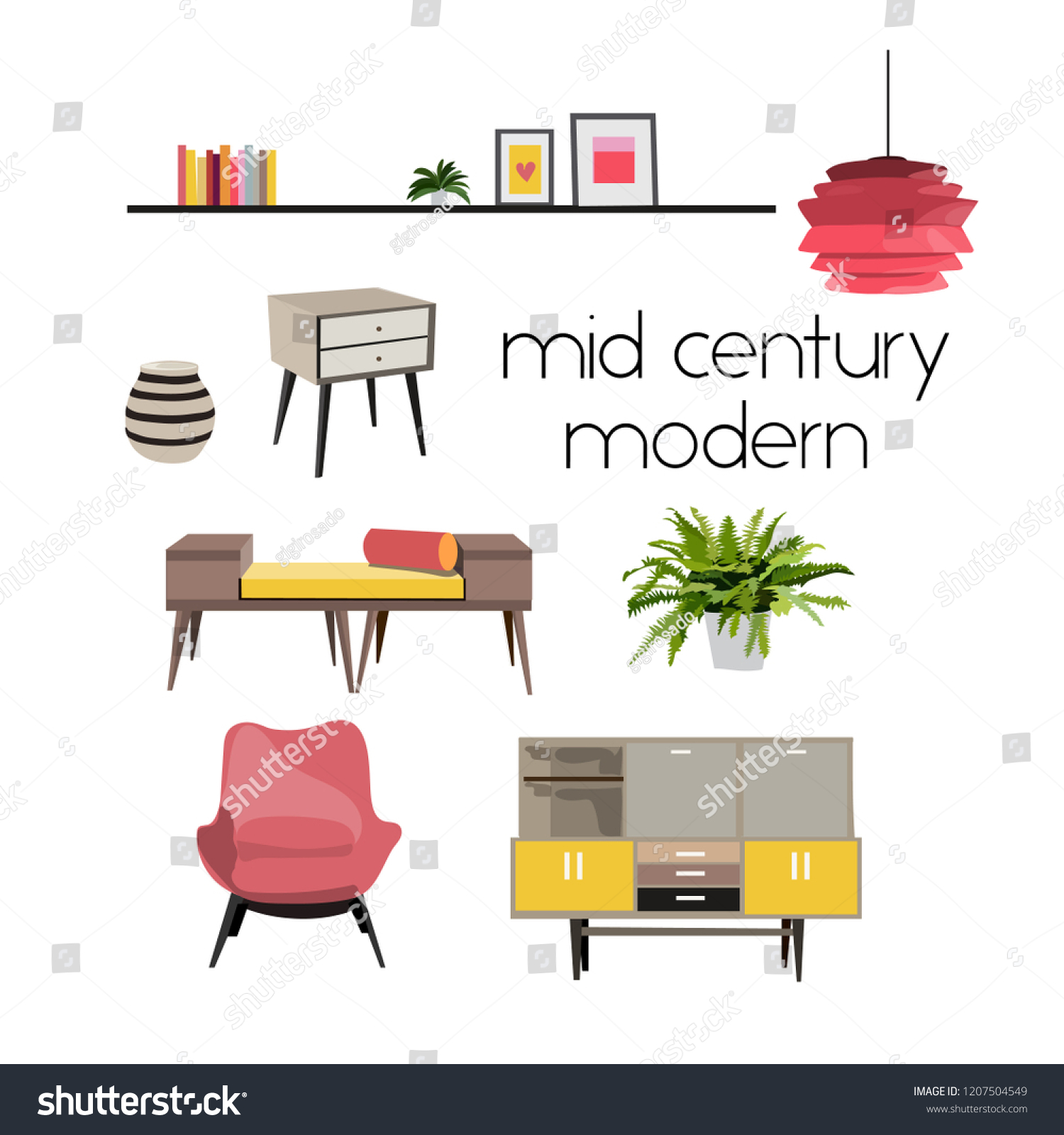 Vector interior design elements modern furniture living room sofa armchair tripod knitted pouffe mood board mid century modern style furniture