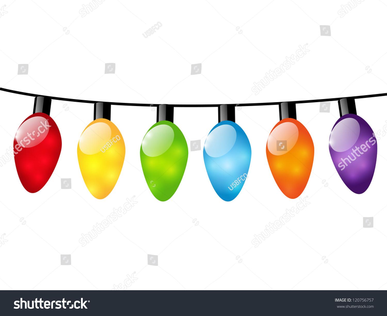 Christmas color light bulbs on white