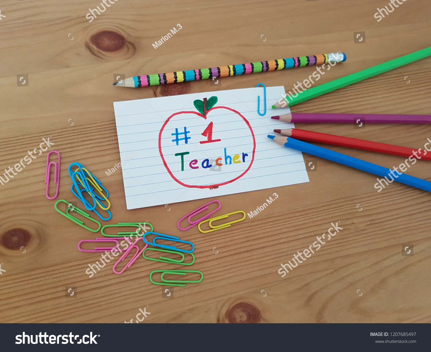 Number 1 teacher note teacher colored stock photo edit now