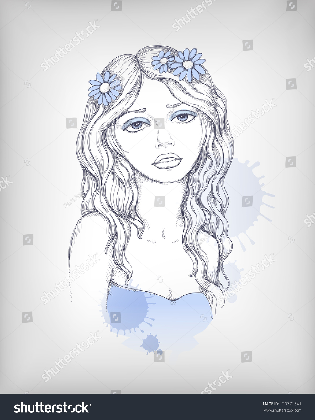 Vector fashion illustration of beautiful woman pencil drawing perfect for t shirt print