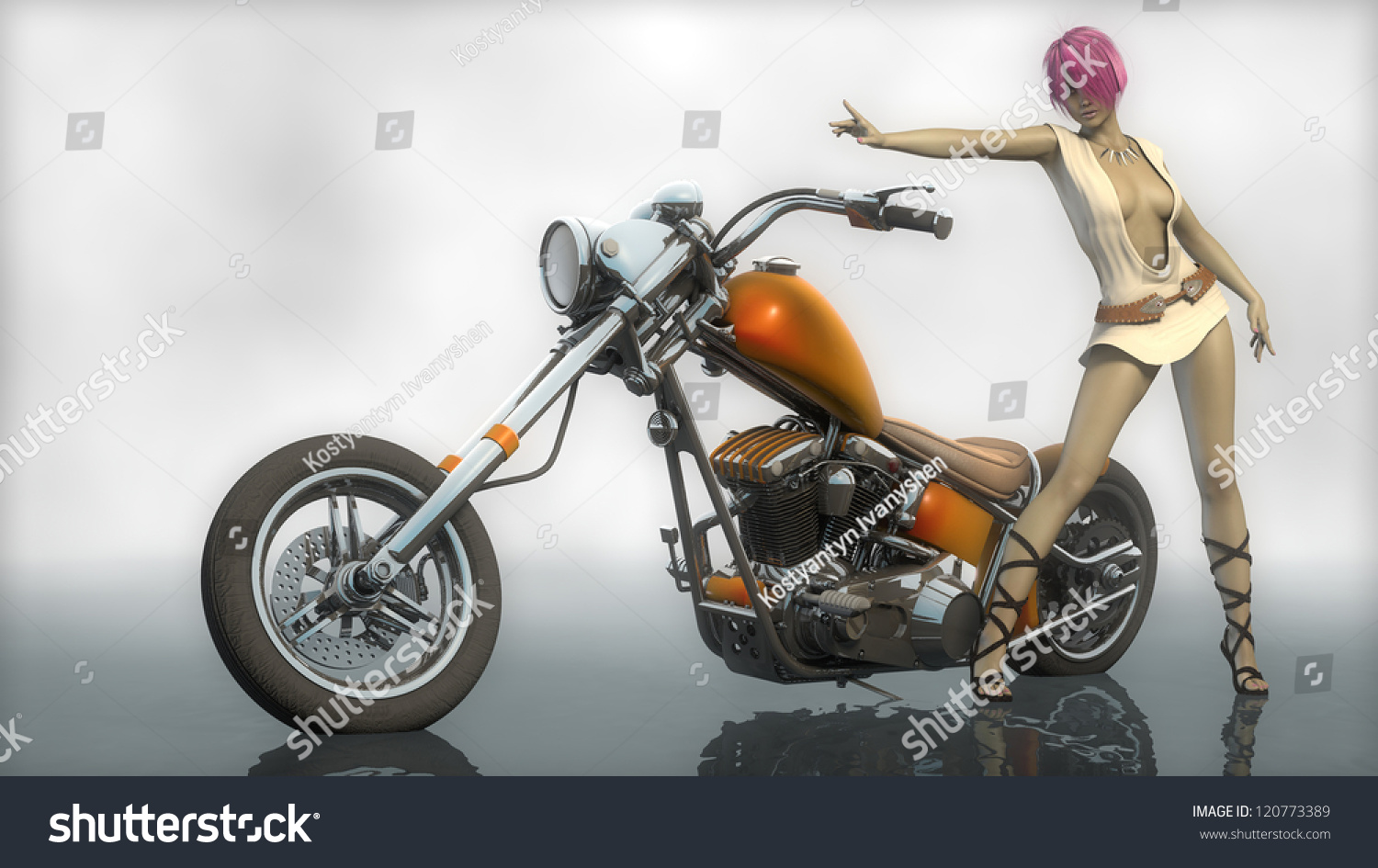 Think, Custom chopper motorcycles and girls manage somehow