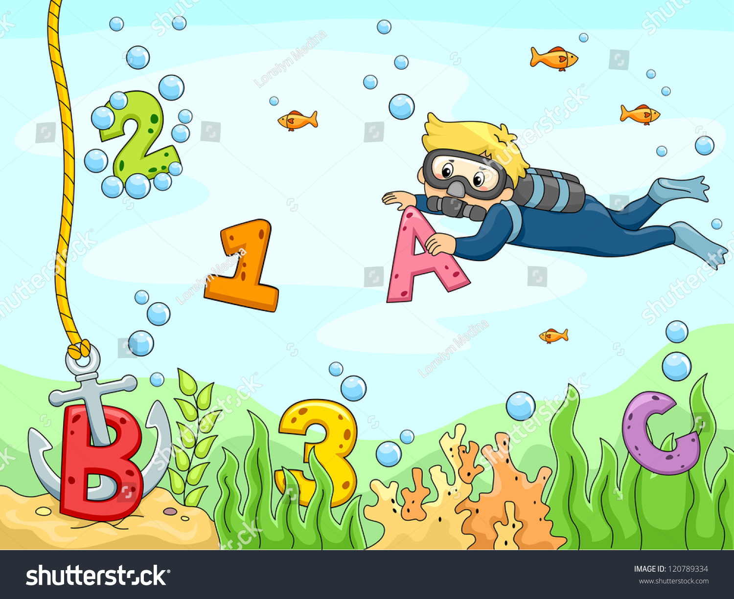 Stock Vector Background Illustration Of A Kid Scubadiver Searching For