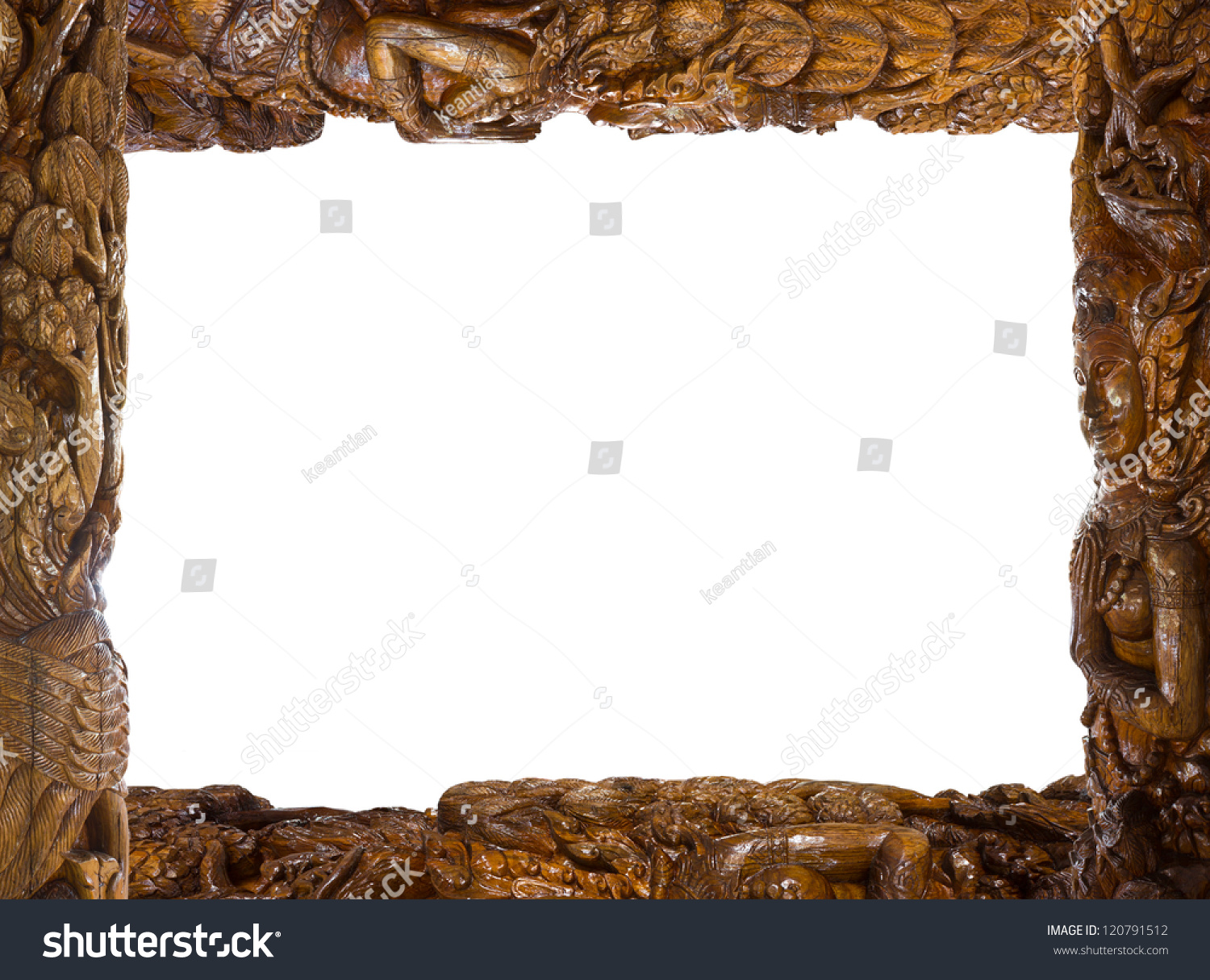 Carved Wooden Frame Buddha Carved Wooden Stock Photo (Edit Now ...