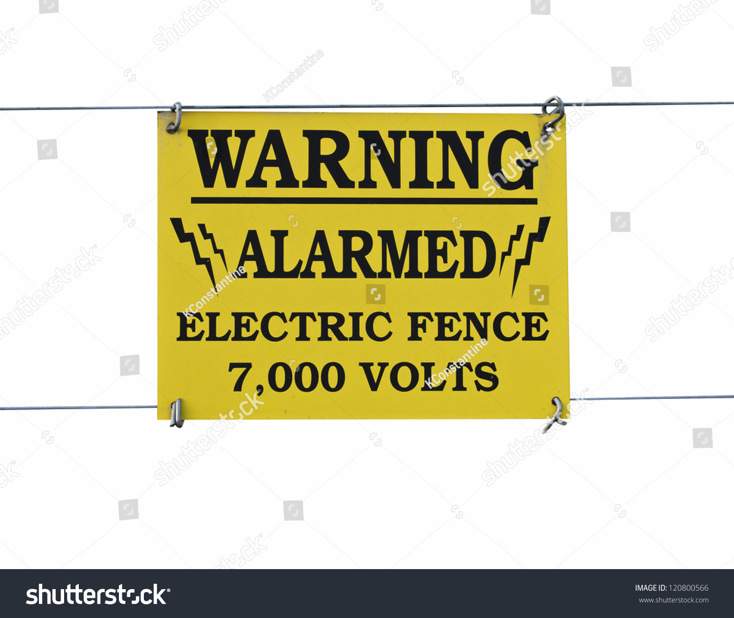 Warning Sign High Voltage Electric Fence Stock Photo