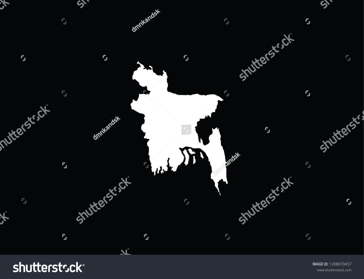 Bangladesh Outline Map Country Shape State Stock Vector Royalty