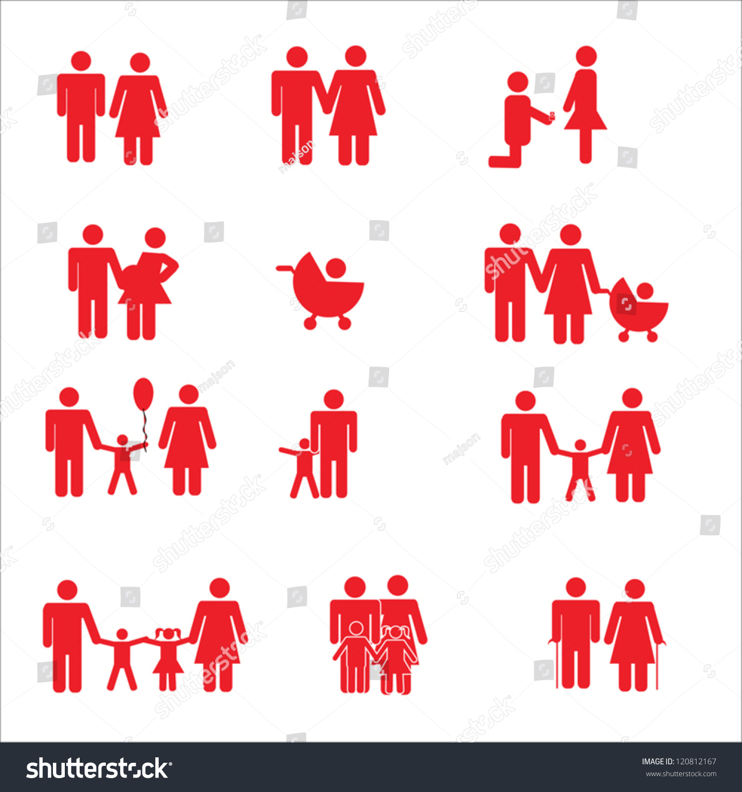 Family Pictogram Set Red Color Pictogram Stock Vector 120812167 ...