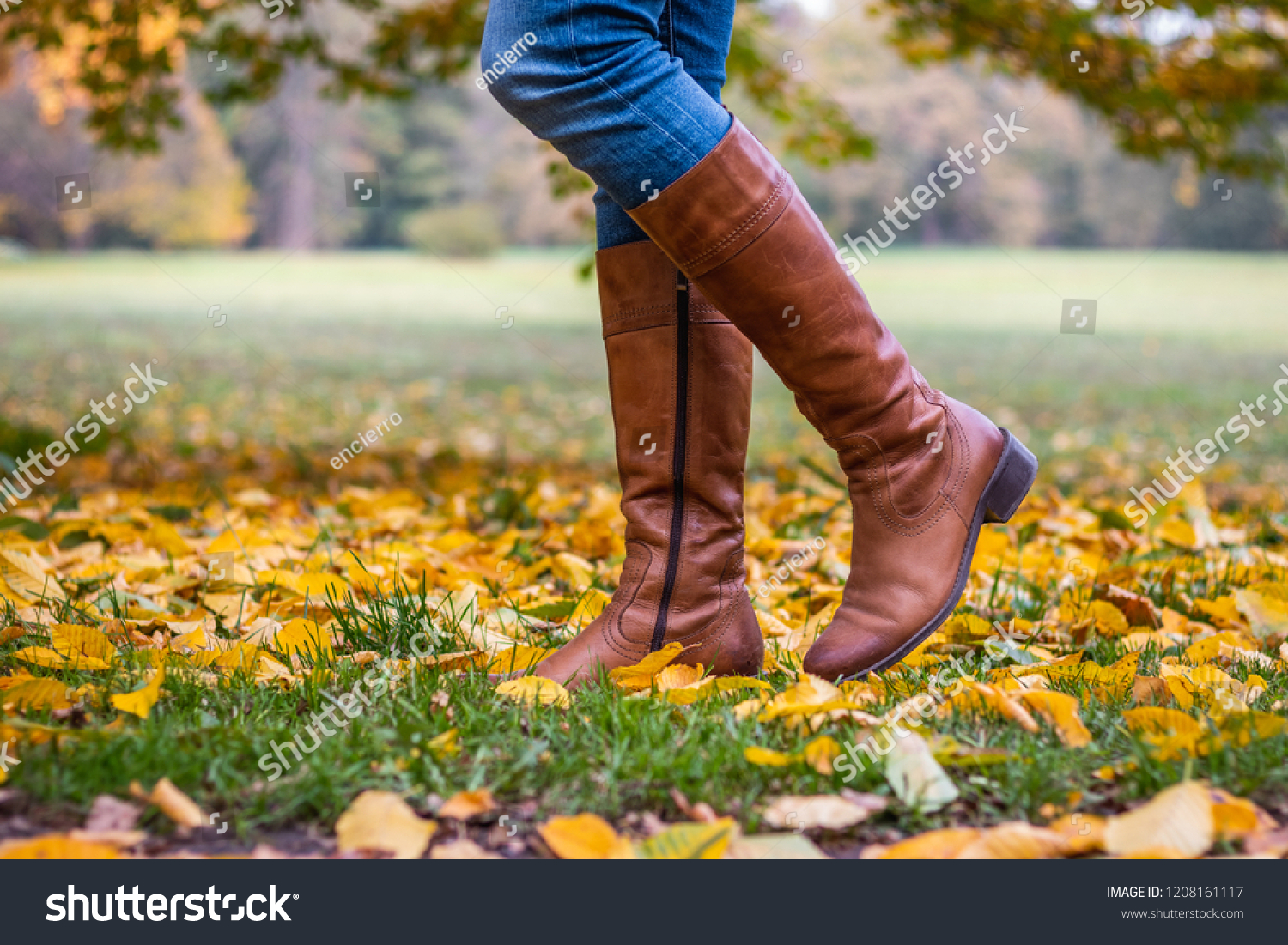 Woman Wearing Brown Leather Boot Walking Stock Photo Edit Now