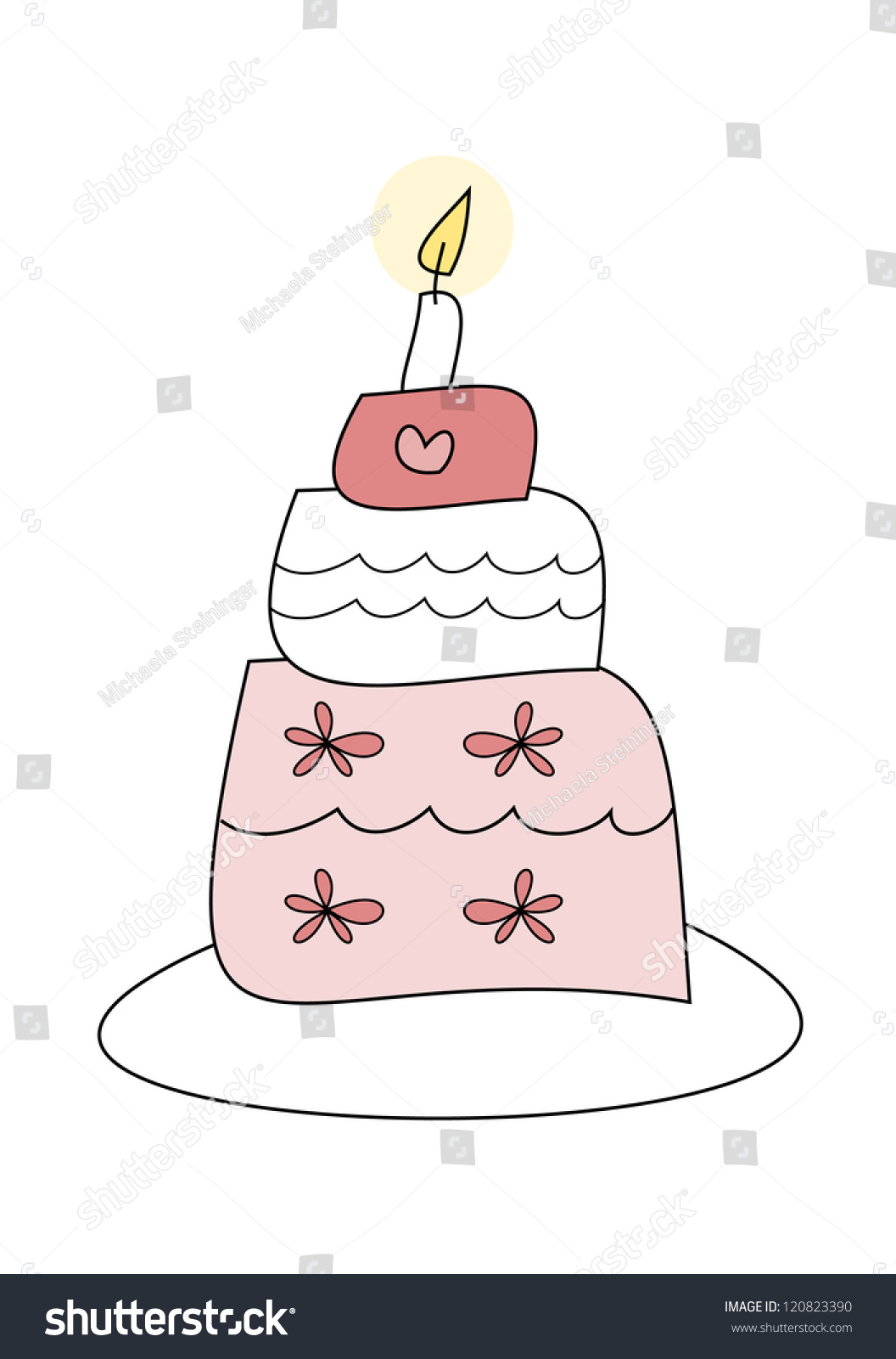 Simple Colorful Drawing Cake Wedding Birthday Stock