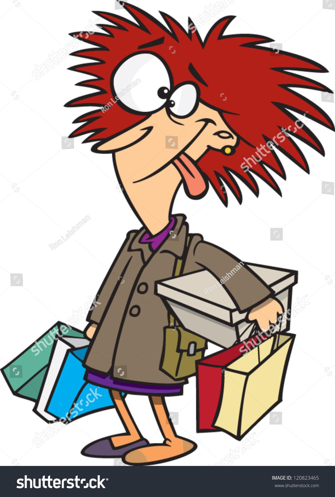 Crazy Cartoon Woman Bunch Shopping Bags Stock Vector ...