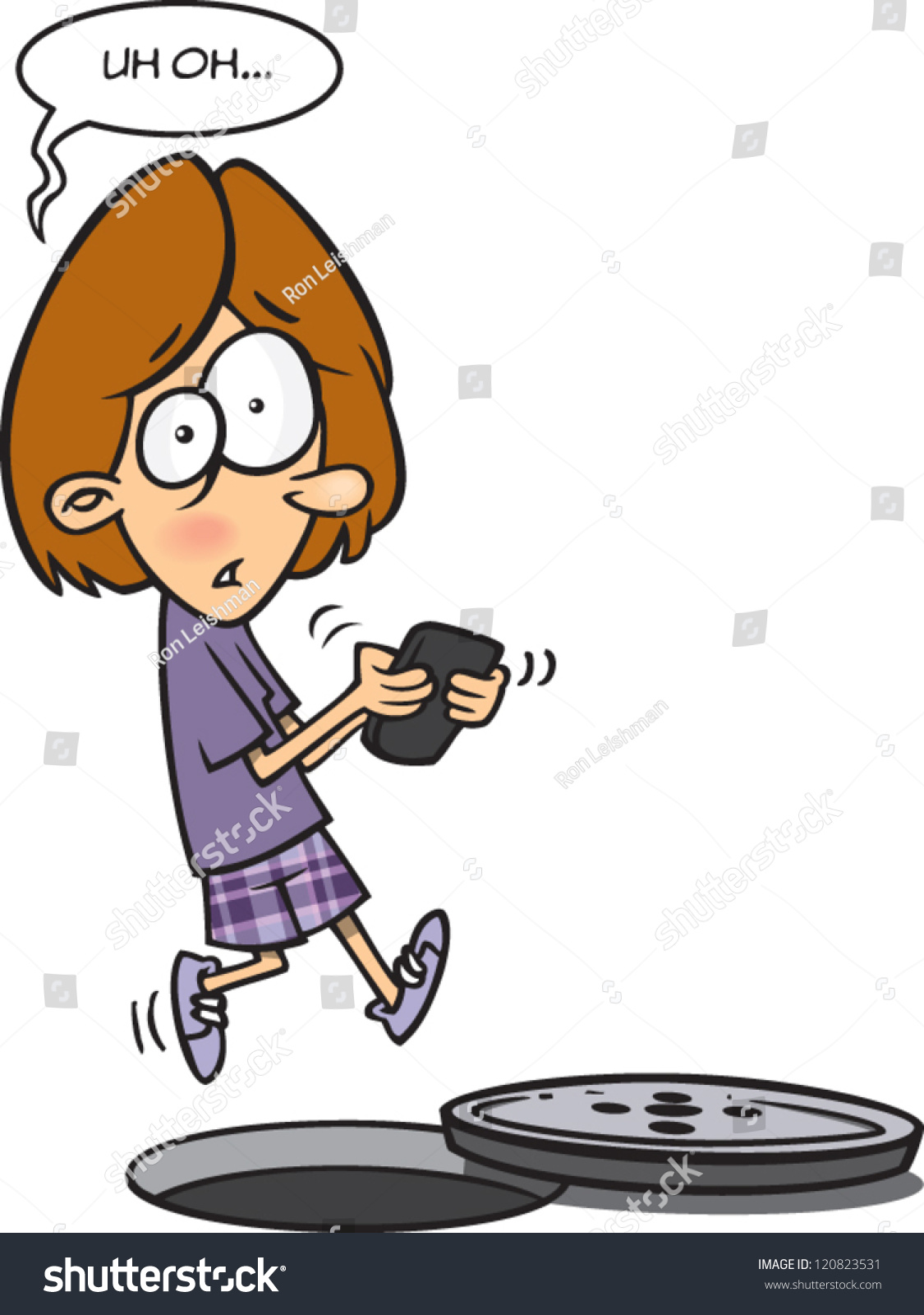 Cartoon Girl Not Paying Attention About Stock Vector ...