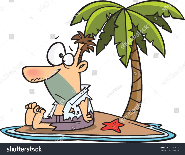 Shipwrecked Deserted Island Cartoon
