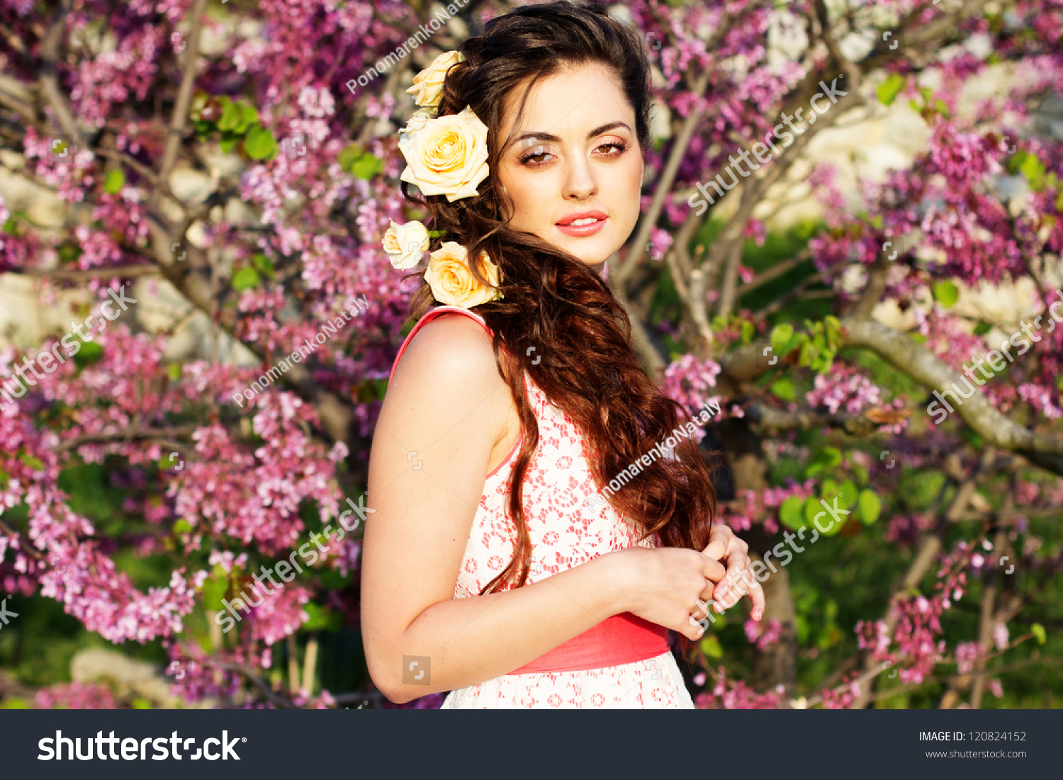Beautiful woman flowers her hair stock photo 120824152 shutterstock beautiful woman with flowers in her hair izmirmasajfo Image collections