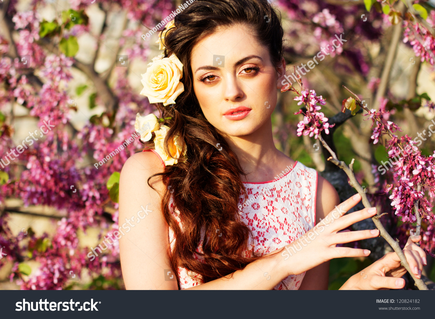 Beautiful woman flowers her hair stock photo 120824182 shutterstock beautiful woman with flowers in her hair dhlflorist Gallery