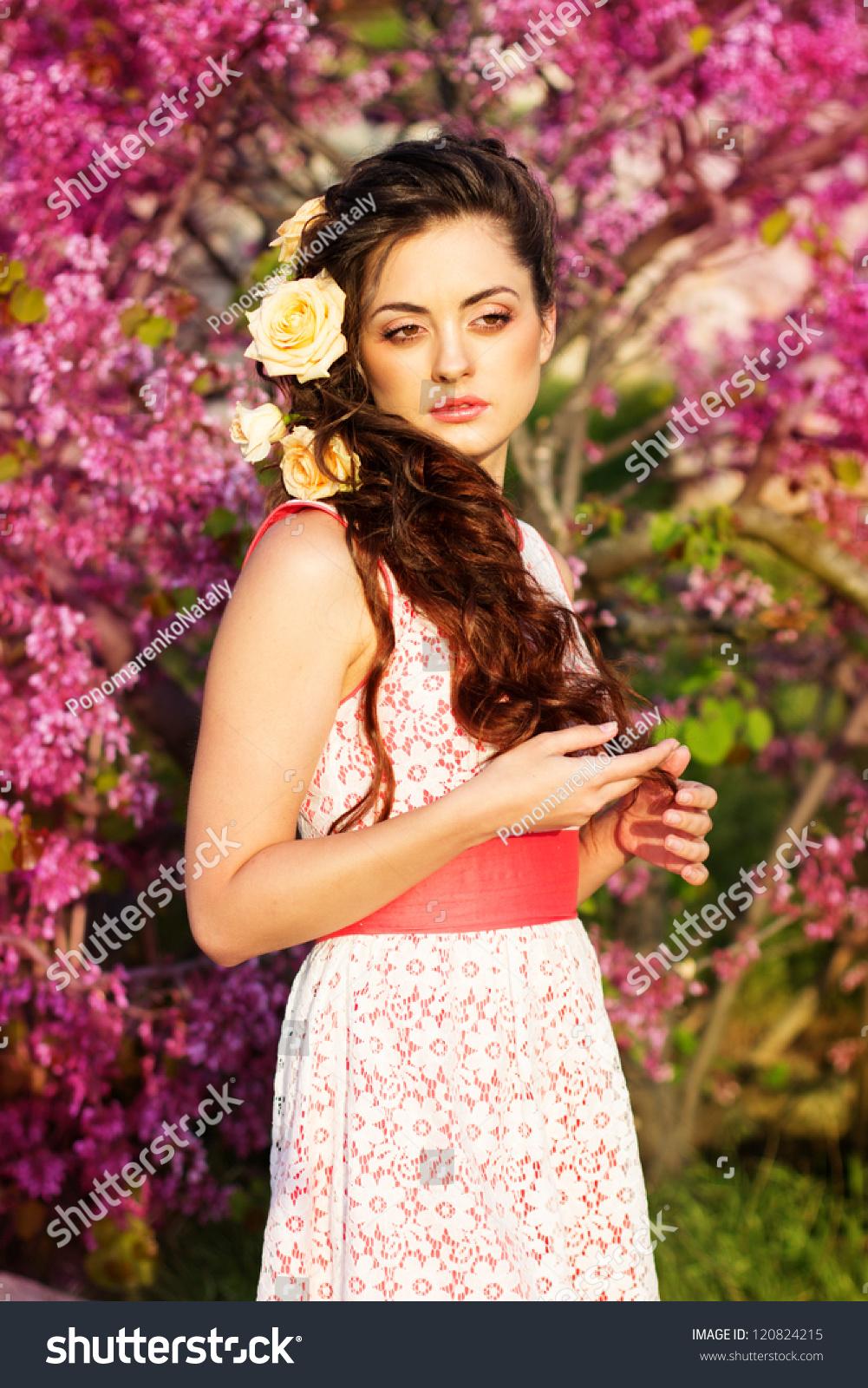 Beautiful woman flowers her hair stock photo edit now 120824215 beautiful woman with flowers in her hair izmirmasajfo