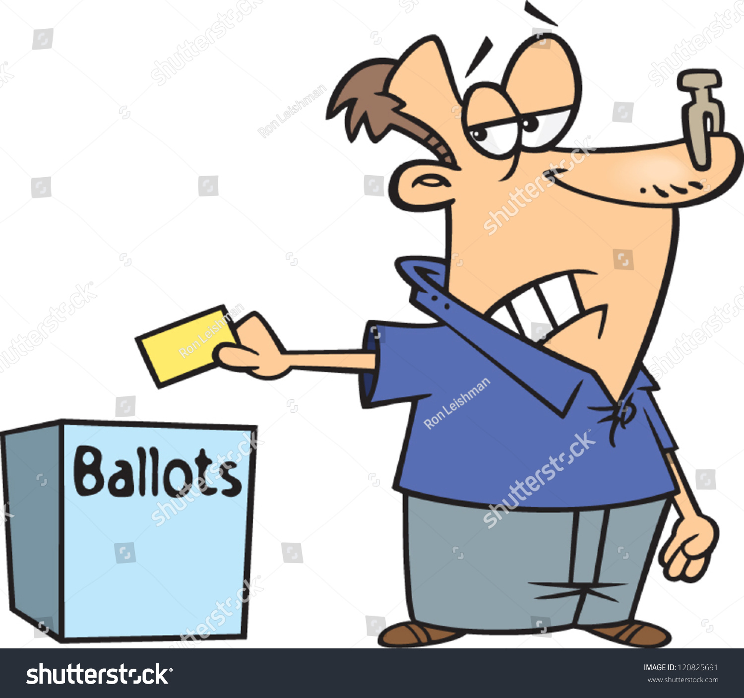 cartoon man casting his vote in a ballot box with a nose plug on