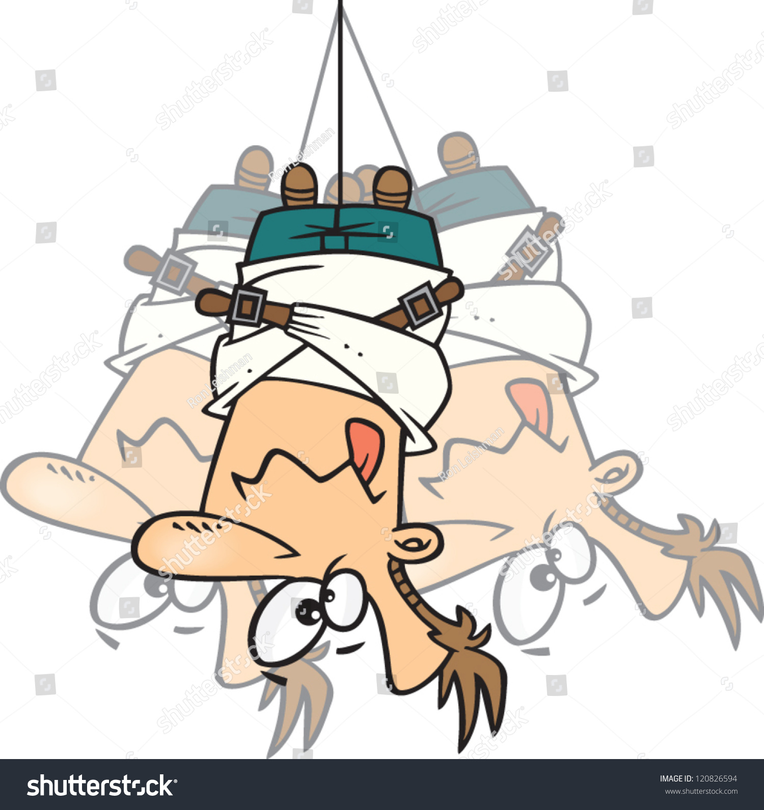 Crazy Cartoon Man Straight Jacket Hanging Stock Vector 120826594