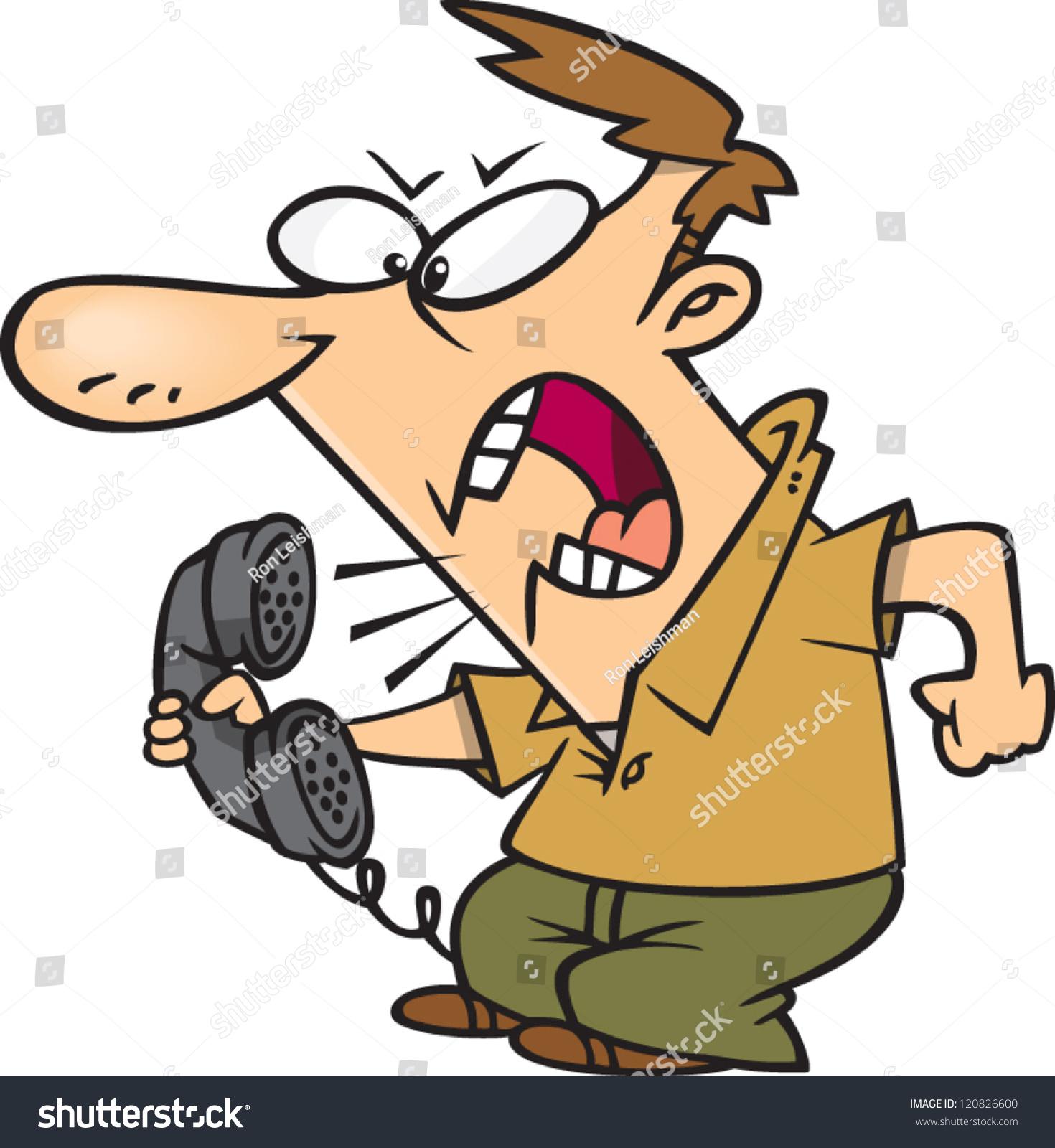 Angry Cartoon Man Yelling Into Phone Stock Vector ...