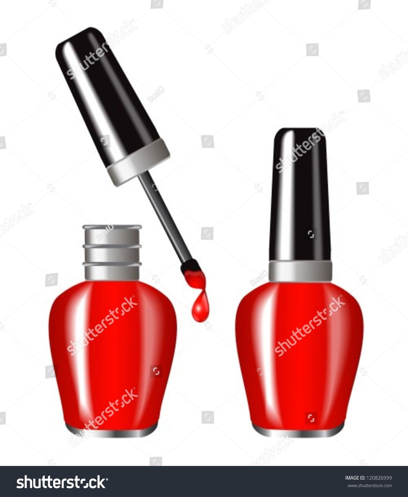 Bright Red Nail Polish Brilliant Flakonebutylka Stock Vector ...