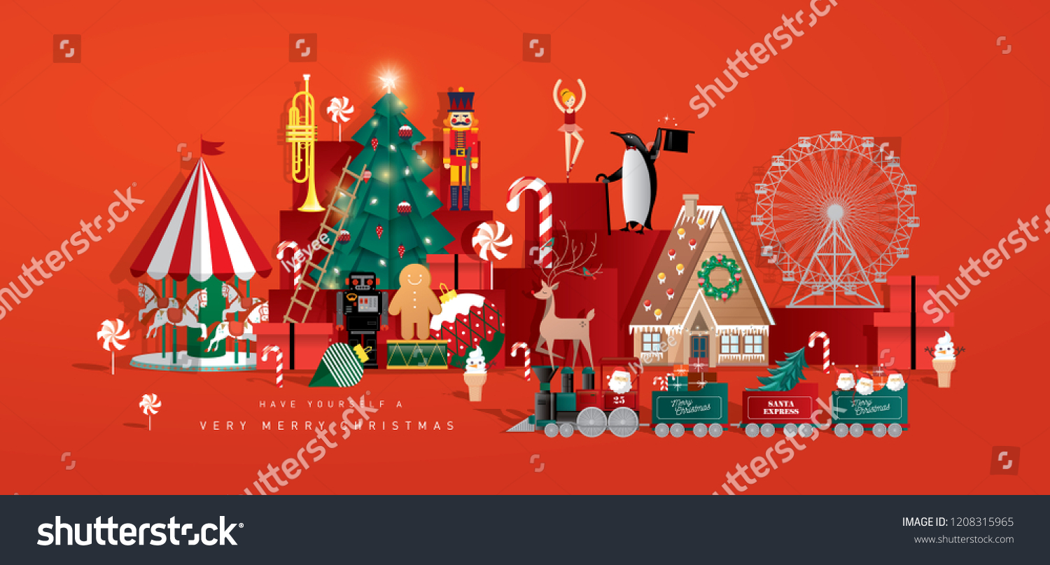 christmas toy store greeting card template vector/illustration #1208315965