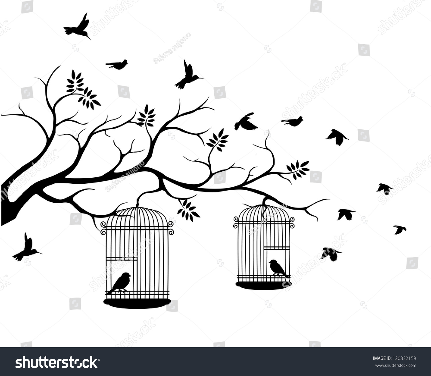 Bird Flying Out Of Cage Drawing Tree silhouette with \x3cb\x3ebirds ...