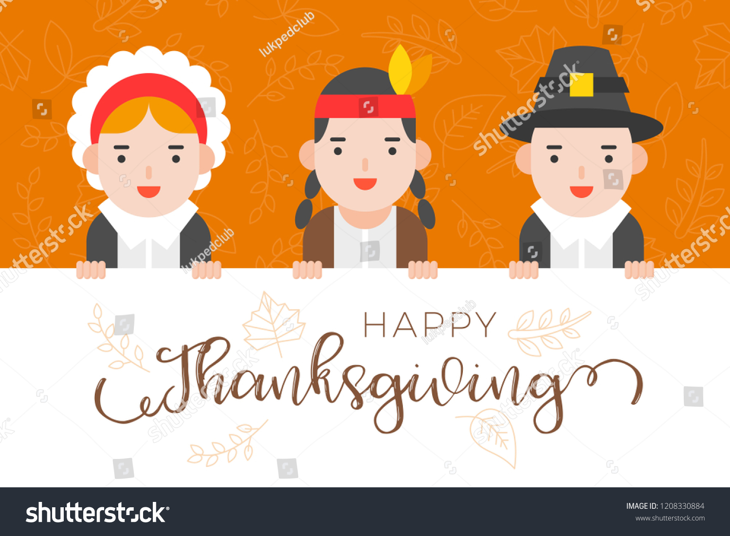 Happy Thanksgiving Background Pilgrim Native Americanflat