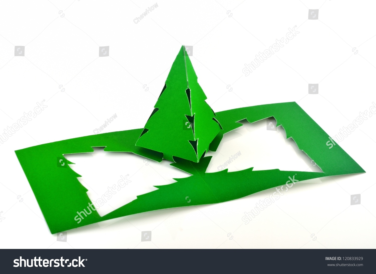 Green color 3d pop out paper christmas tree stock photo for Colors that pop out