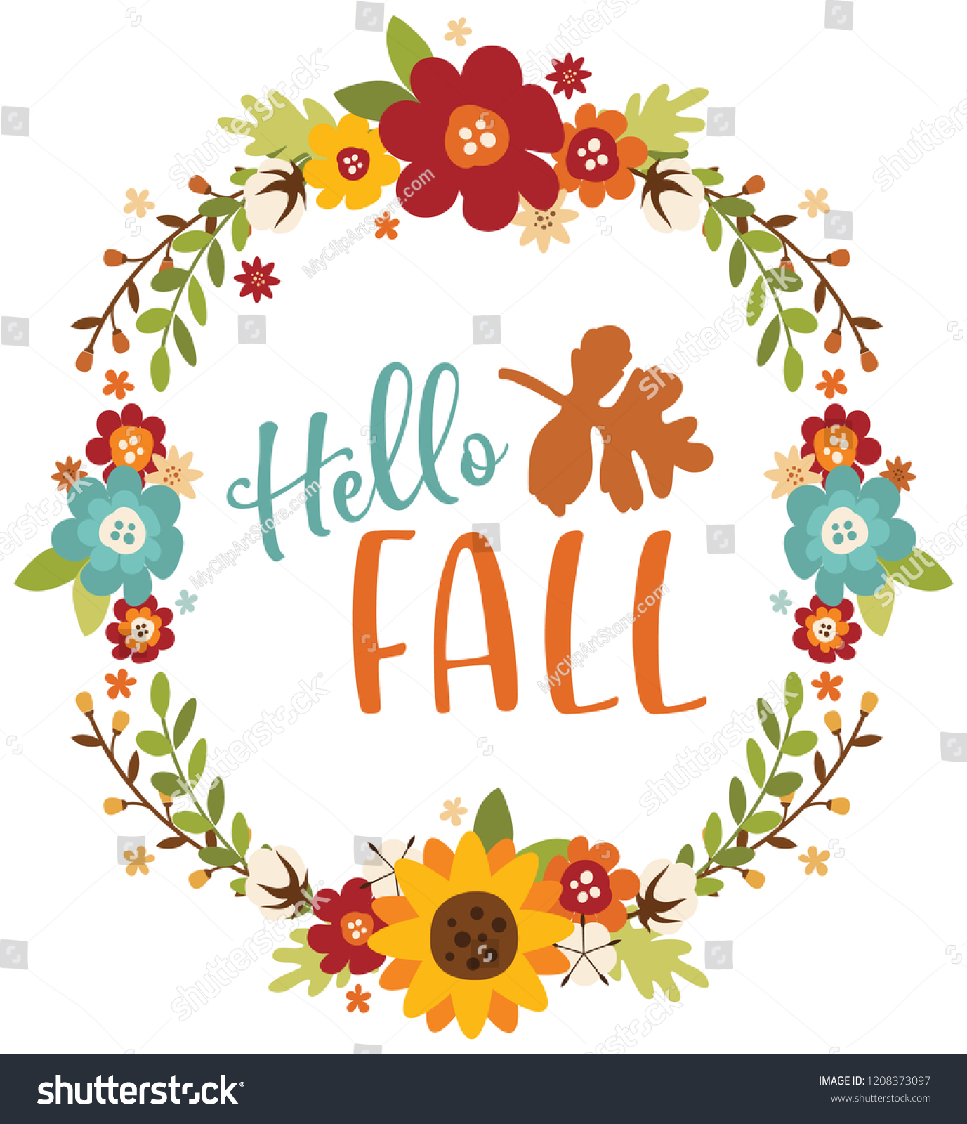 Hello Fall Floral Wreath Stock Vector Royalty Free 1208373097