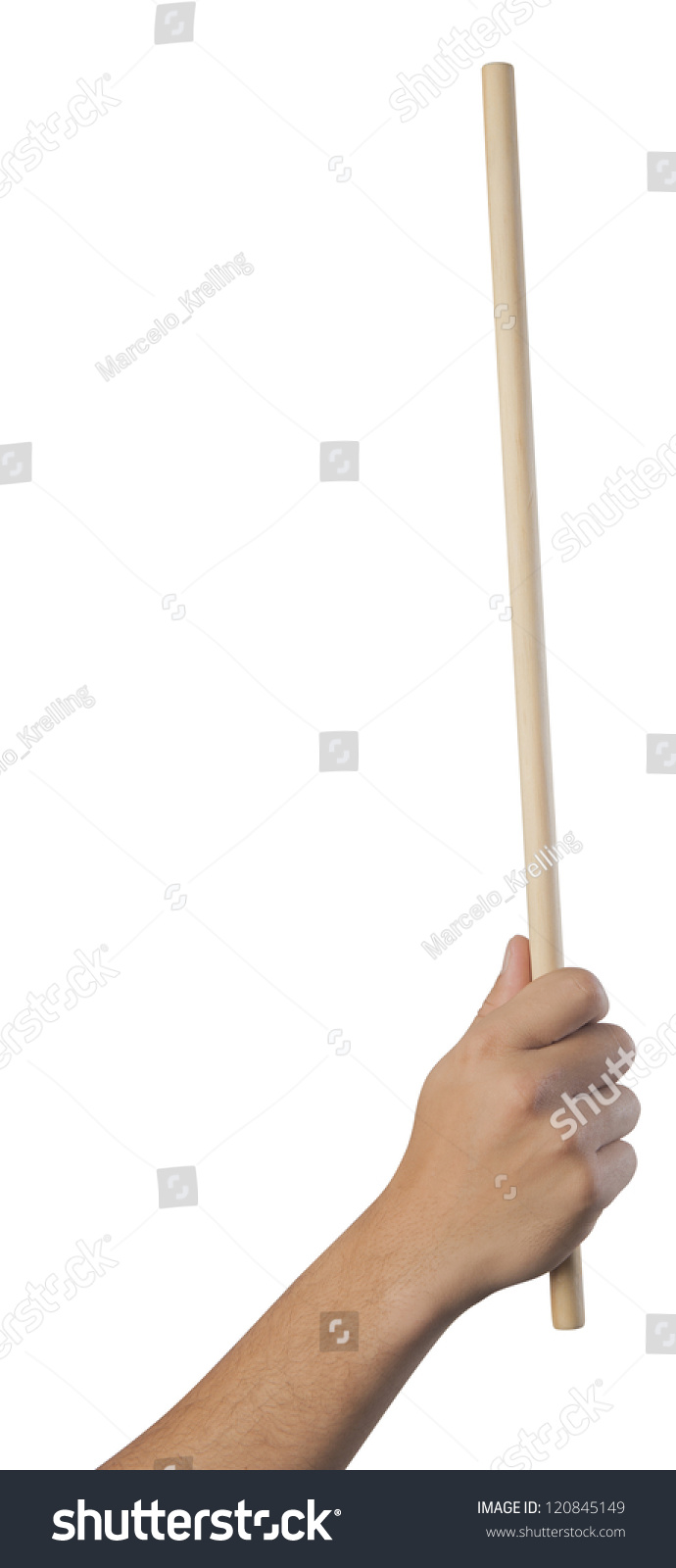 Hand Holding Stick ~ Hand holding a pointing stick stock photo