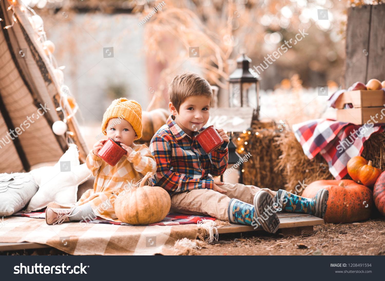 Cute Baby Girl Kid Boy Drinking Stock Photo Edit Now 1208491594