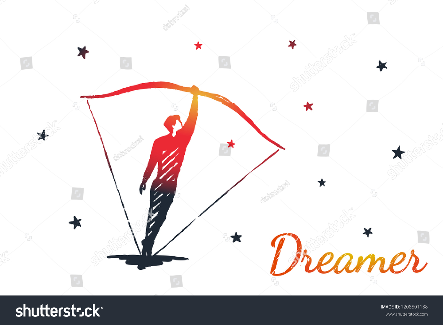 Dreamer Concept Art Sketch Man Instead Stock Vector Royalty Free