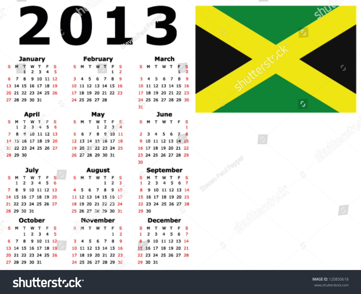 Calendar Jamaica : Calendar jamaica flag stock vector illustration