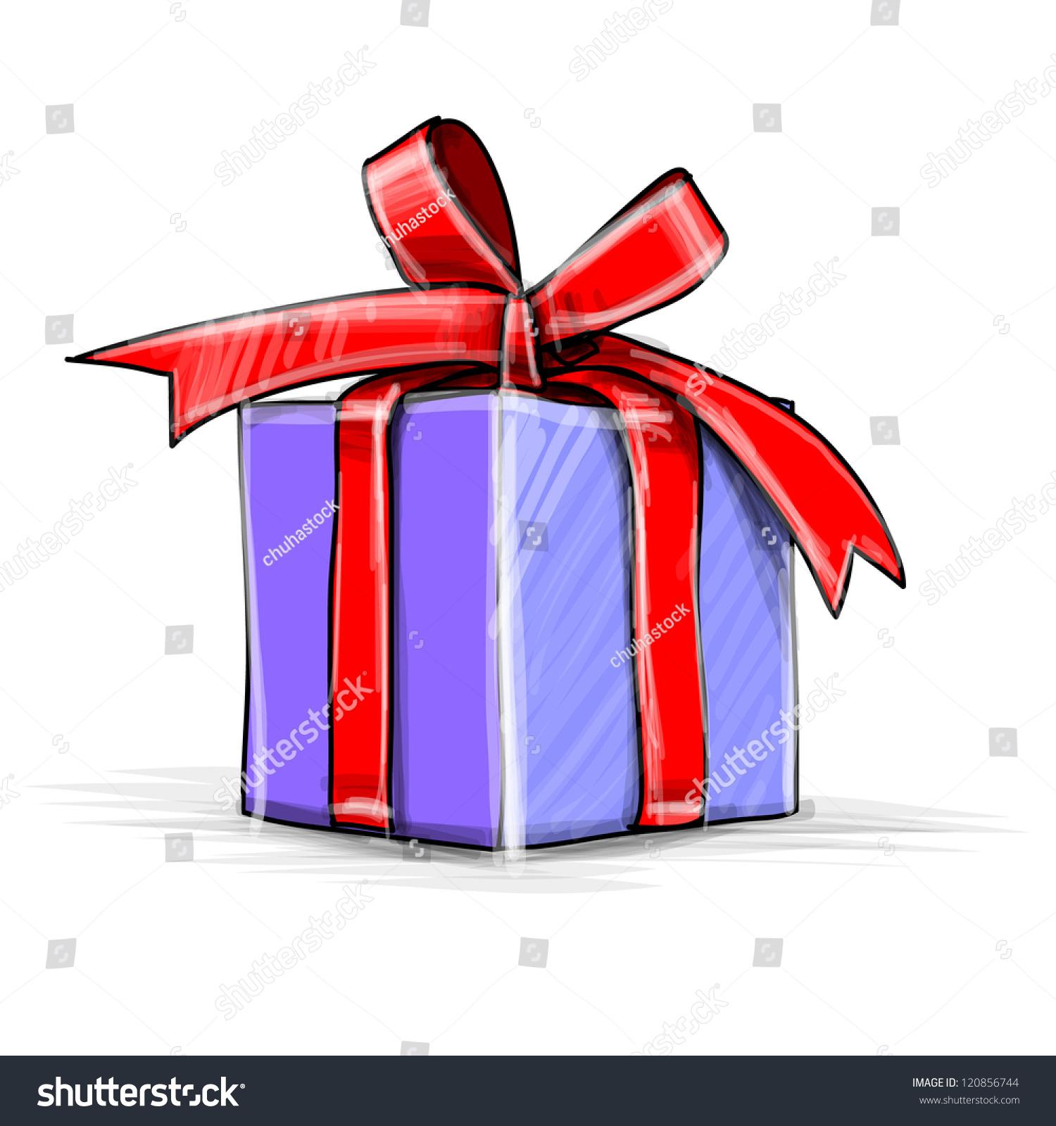 Christmas Present Box Cartoon Sketch Vector Stock Vector