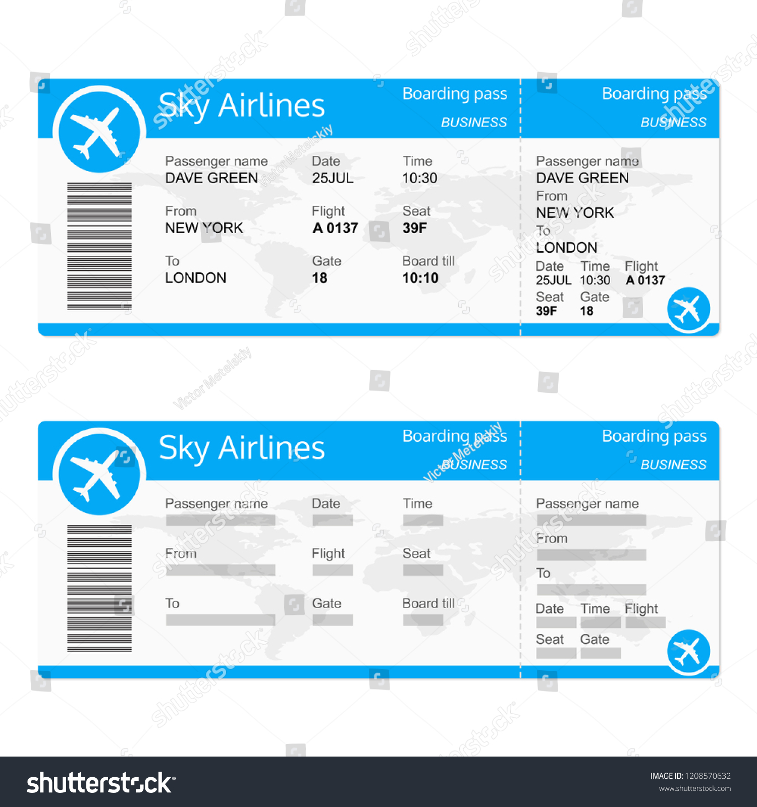 plane ticket template airplane flight ticket stock illustration