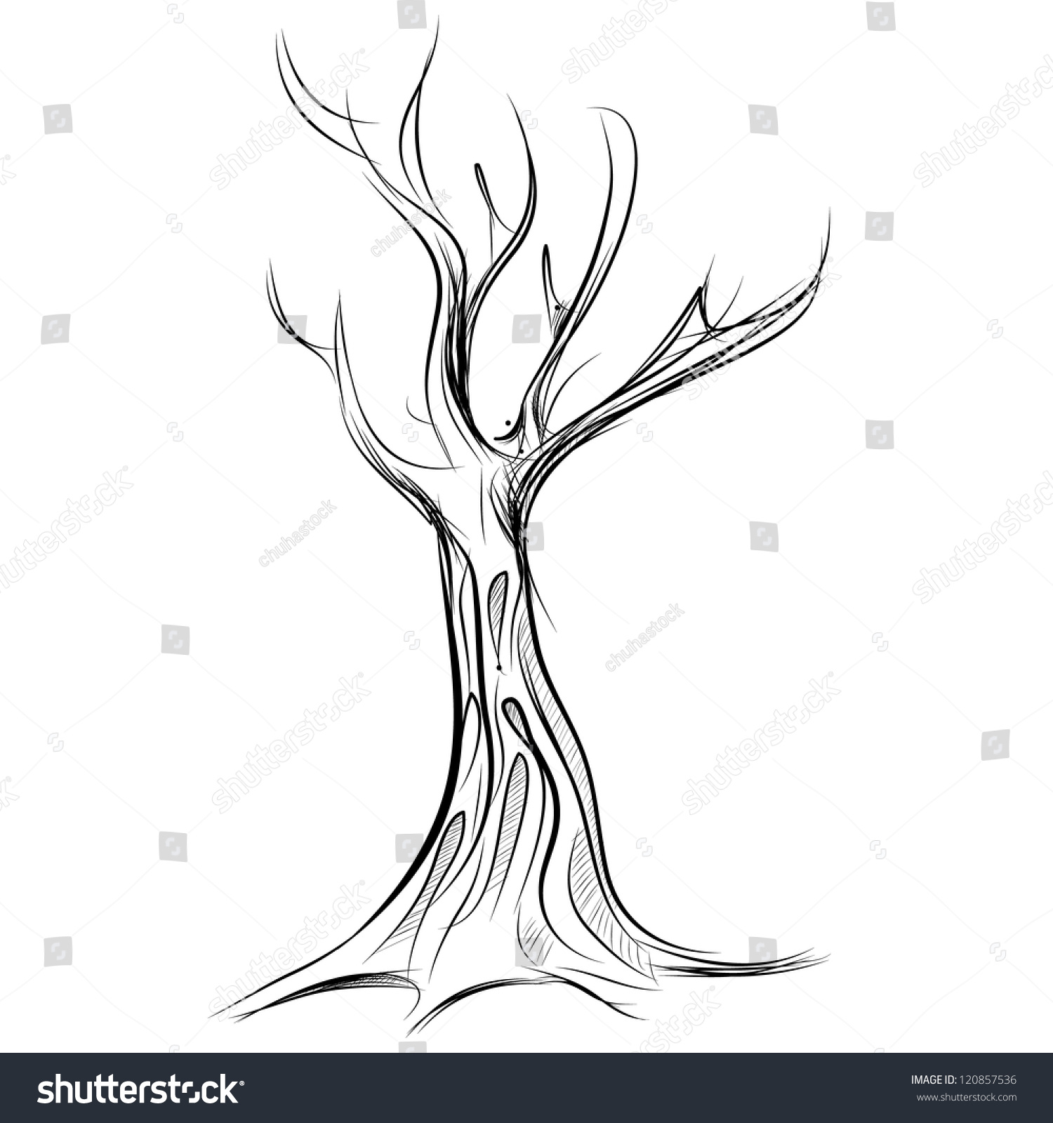 Tree Cartoon Icon. Sketch Fast Pencil Hand Drawing Illustration - 120857536  Shutterstock