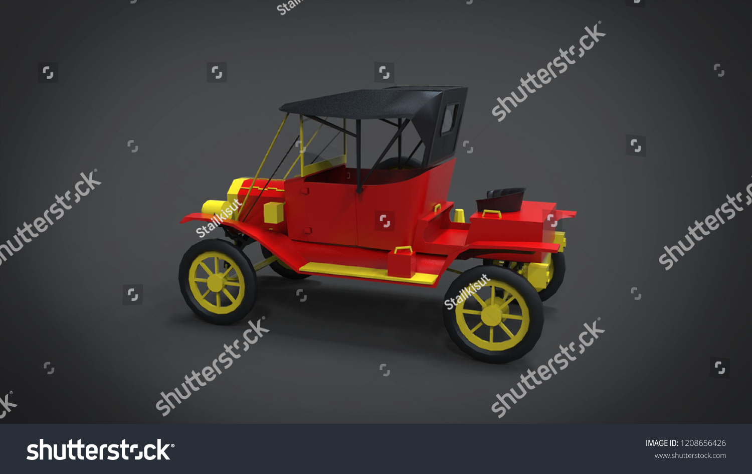 Classic Retro Cars 3d Rendering Results Stock Illustration 1208656426
