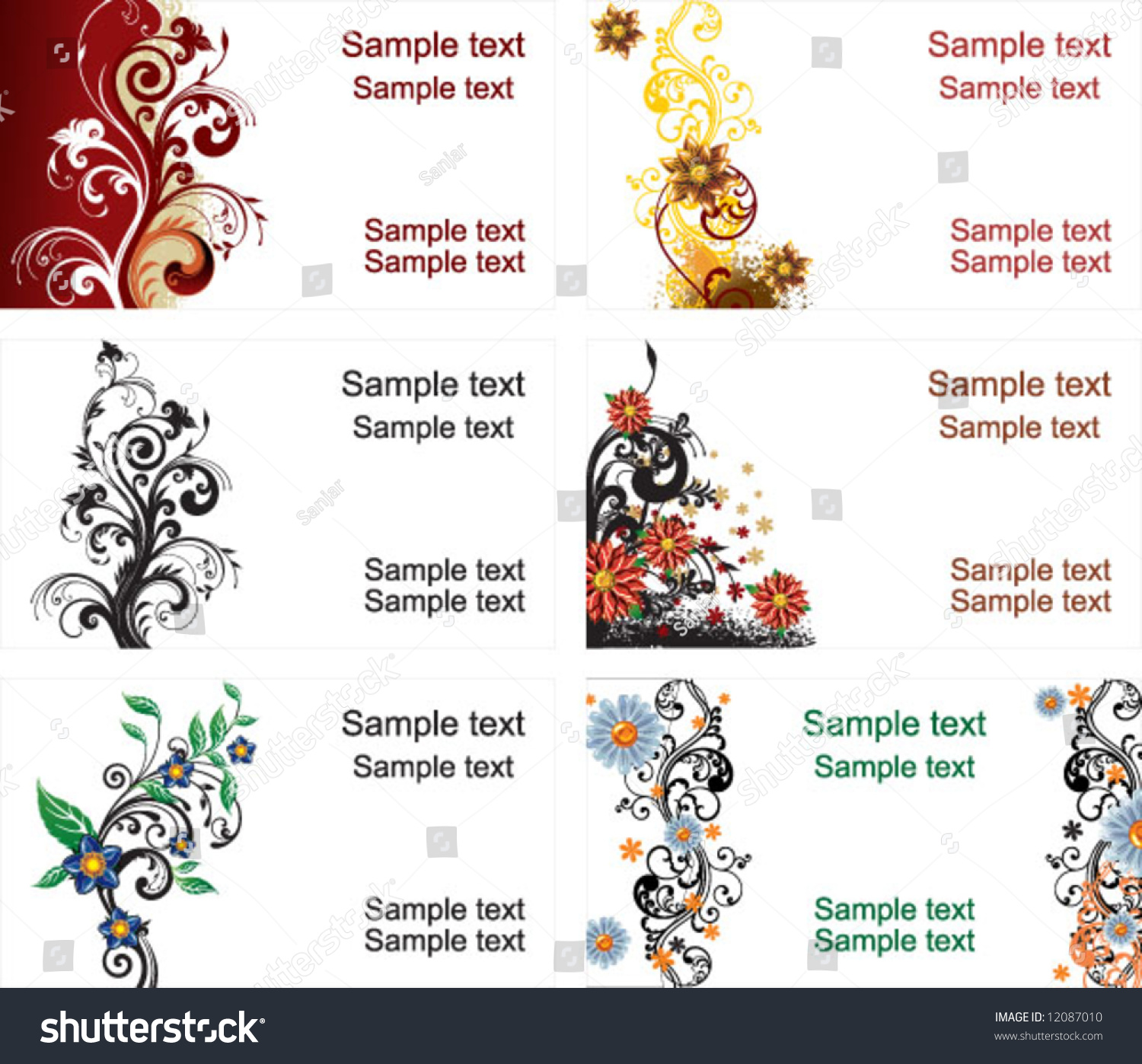 Collection Business Cards Stock Vector 12087010 - Shutterstock