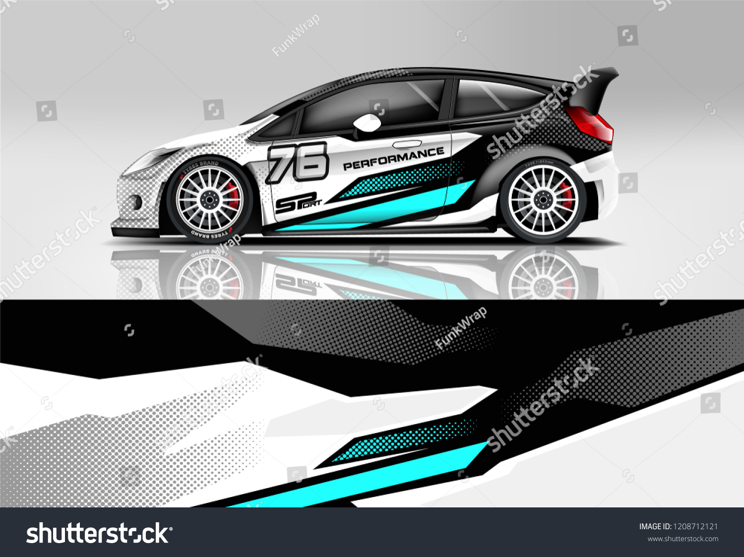 Racing hatchback car wrap decal and sticker design vector eps 10 format