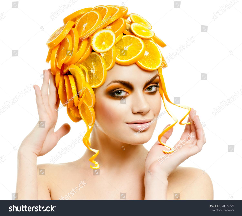 beautiful woman hair made fresh oranges stock photo 120872779, Human Body