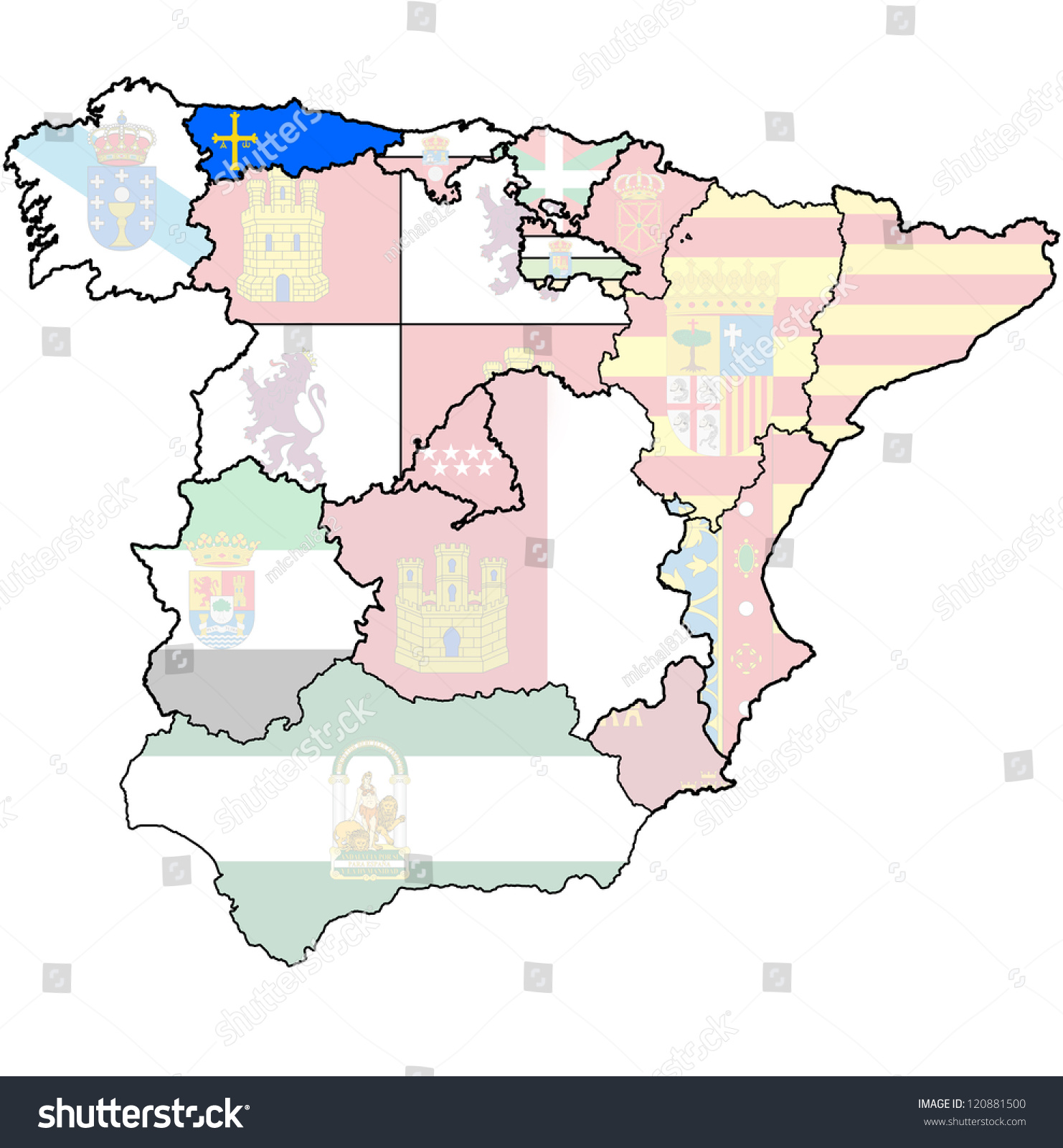 Asturias Region On Administration Map Regions Stock Illustration