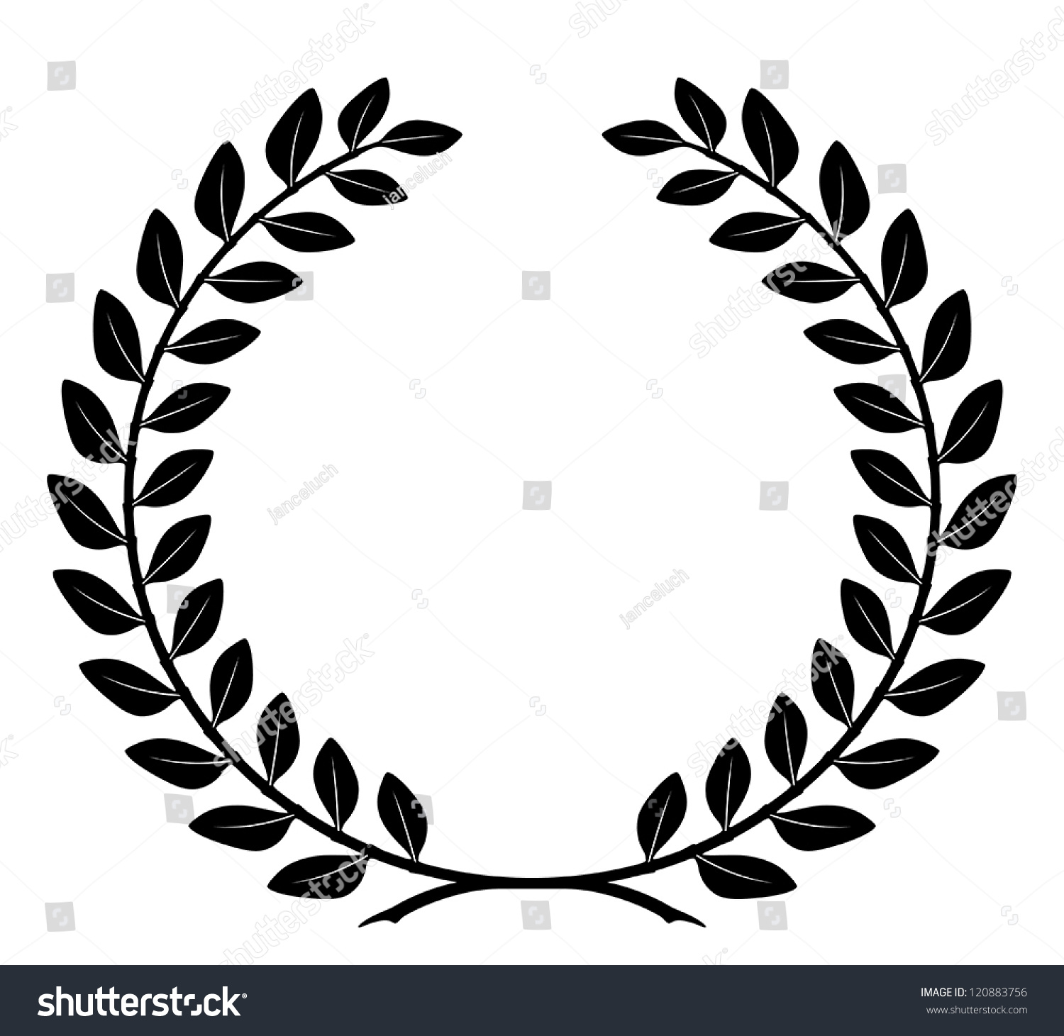 Laurel Wreath Detailed Branches Symbol Victory Stock Vector Royalty
