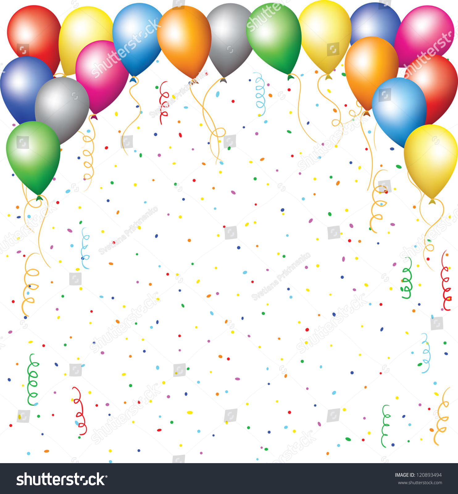 Happy Birthday Background Balloons Confetti Serpentine