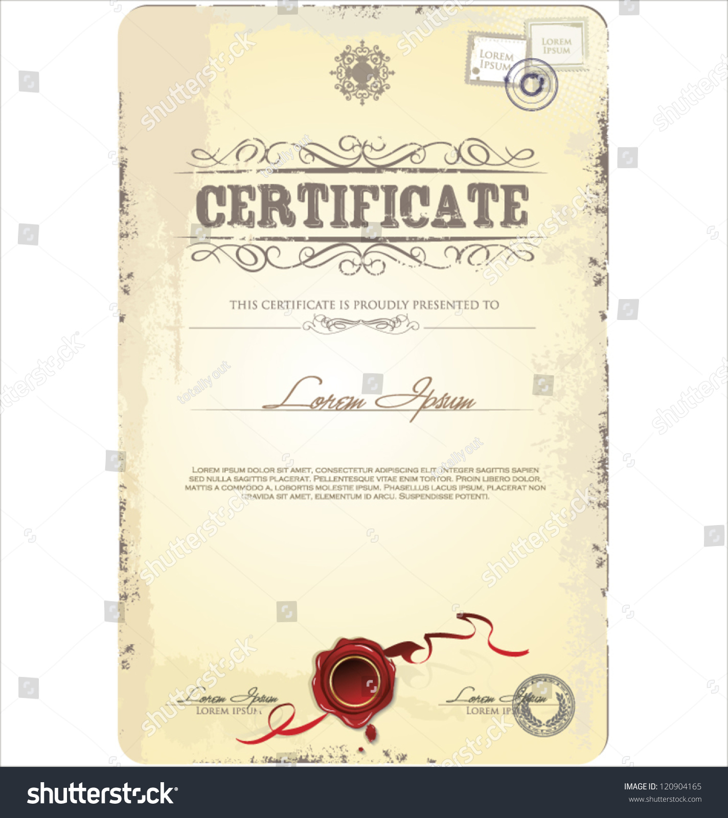 Old Vintage Certificate Template Vector Illustration Stock Vector