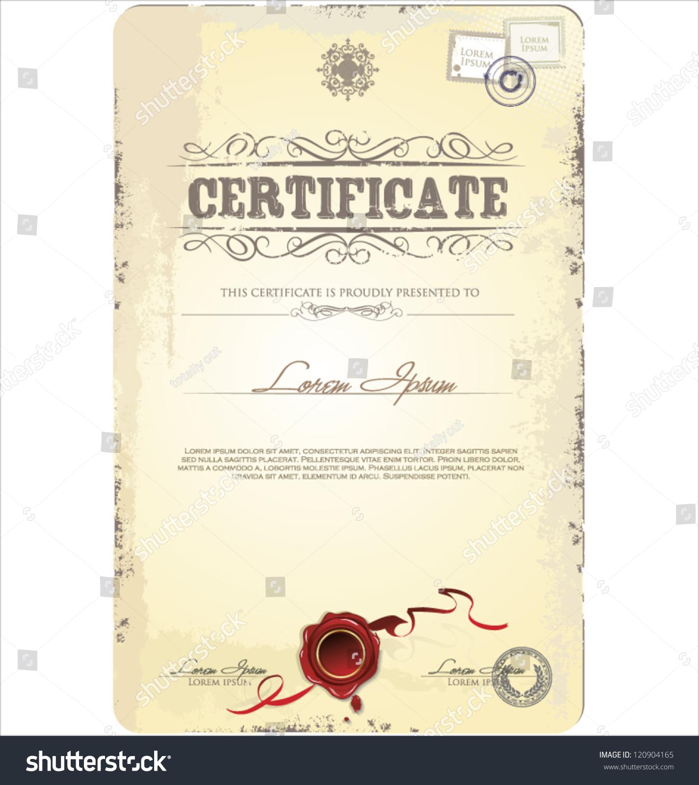 old vintage certificate template vector illustration