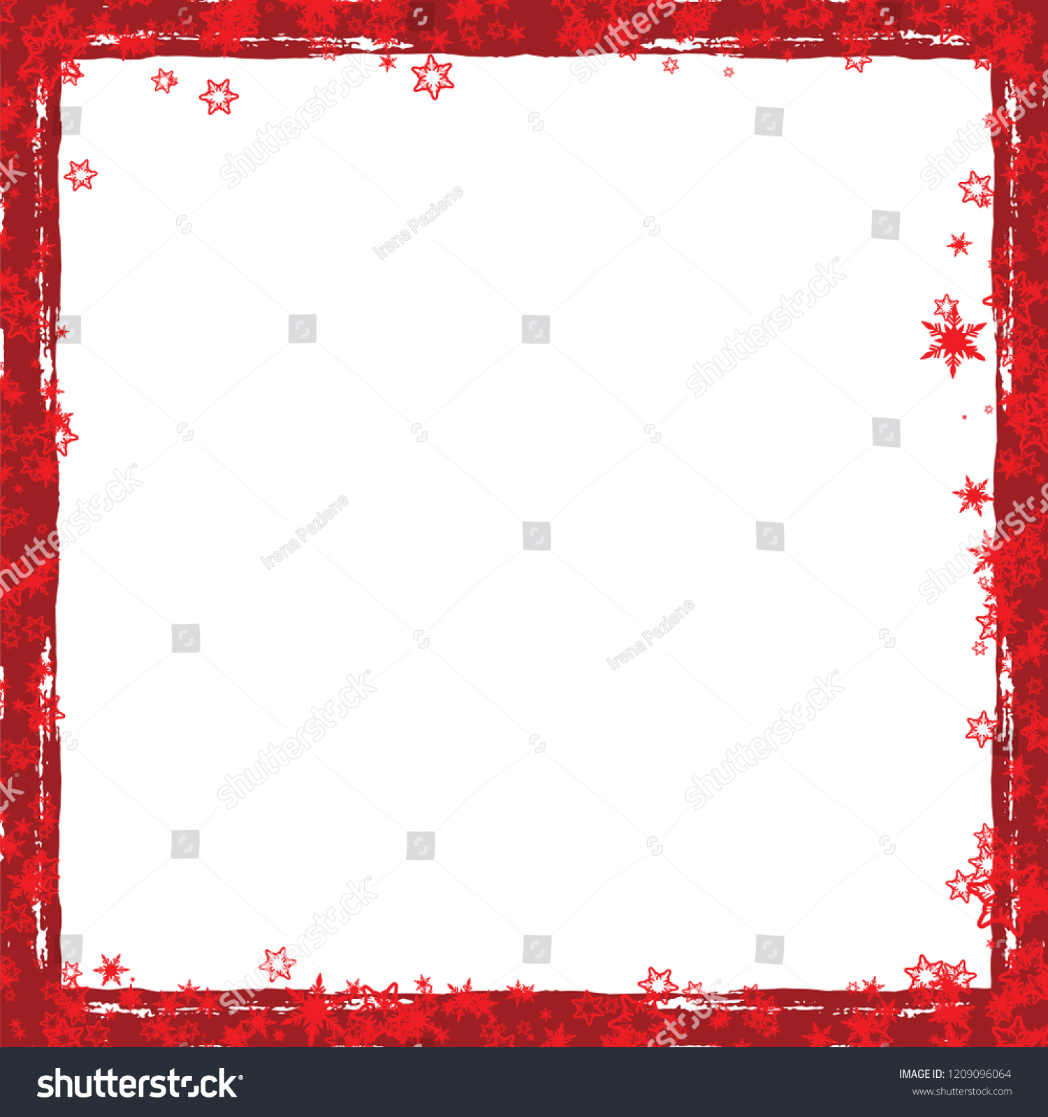 Red Christmas Frame With Snowflakes #1209096064